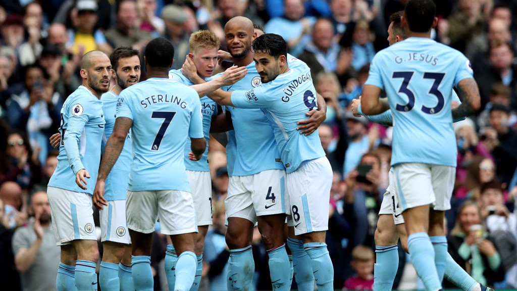DREAM TEAM: City players celebrate De Bruyne's twelfth goal of the season.