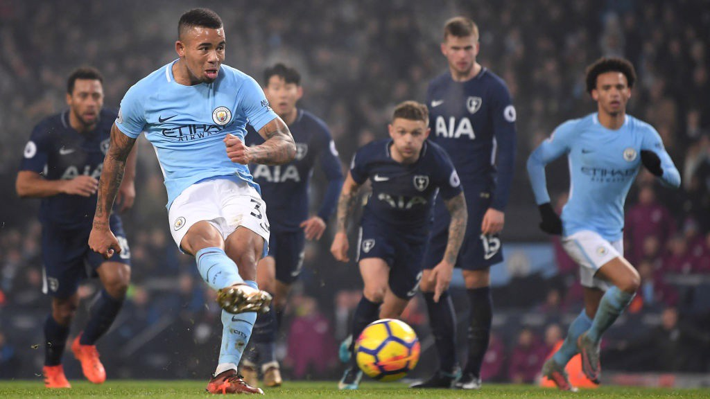 SPOT KICK: Gabriel Jesus strikes from 12 yards.