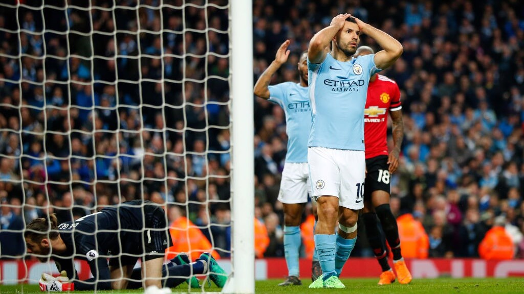 CLOSE: Sergio Agüero went close to scoring his 200th City goal, but was denied by David De Gea.