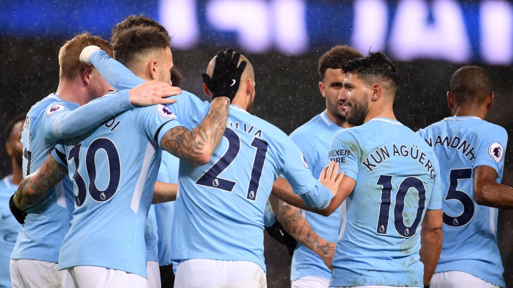 SERGIO, SERGIO: City celebrate as Serio Agüero makes it three.