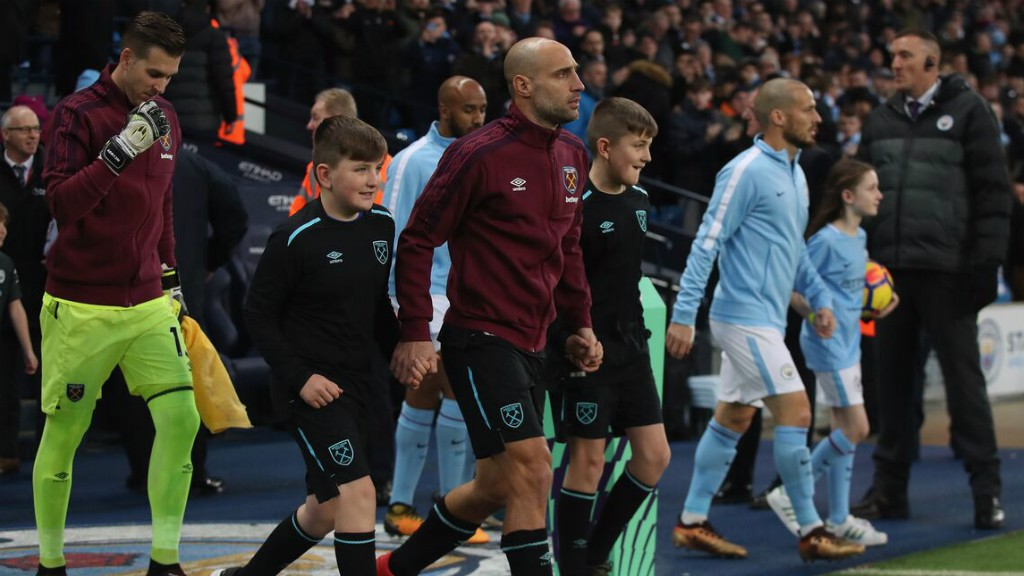 FAMILIAR FACE: Pablo Zabaleta leads out the Hammers on his former stomping ground