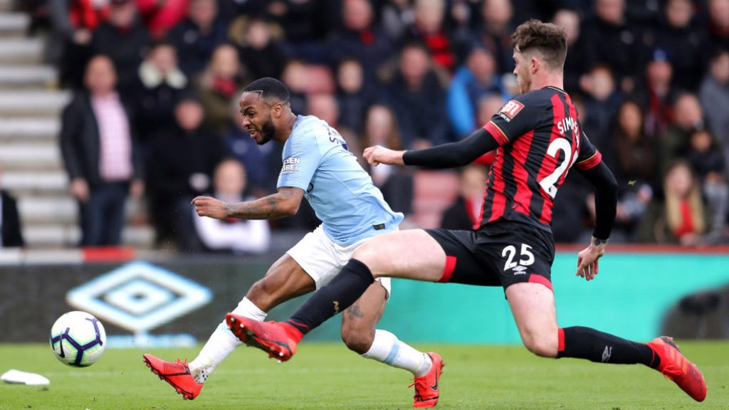 STER CRAZY: Raheem almost doubles our lead with a rasping shot