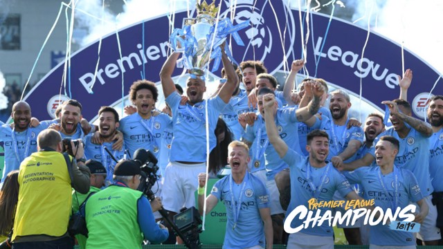VICTORY: Vincent Kompany lifts the trophy aloft.