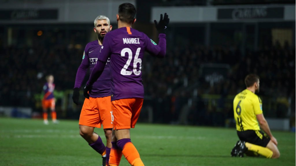 DYNAMIC DUO: Sergio Aguero acknowledges Riyad Mahrez' contribution to the opening goal