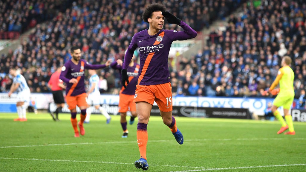 IN-SANE ATTACK: Leroy Sane celebrates the Blues' second goal in two minutes, and their third of the afternoon