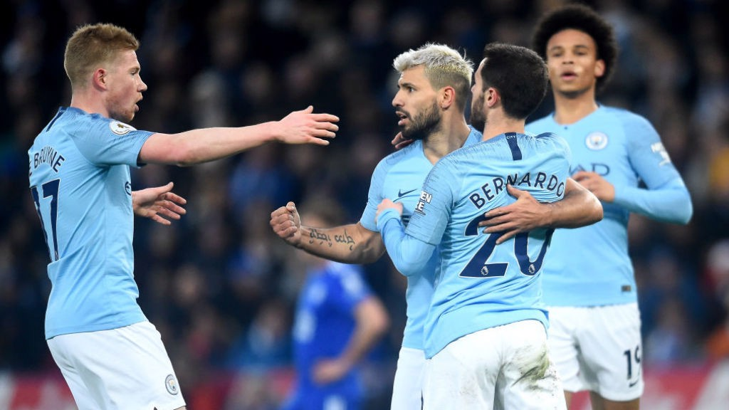 CELEBRATION TIME: Kevin De Bruyne and Sergio Aguero salute Bernardo Silva