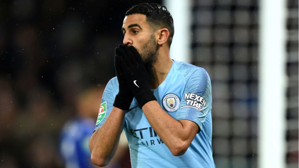 HOW DID THAT MISS? Riyad Mahrez can't believe it after his shot just goes wide