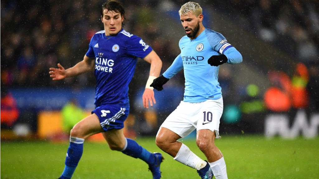 LEADING MAN: Sergio Aguero was captain for the night at a rain-lashed King Power Stadium