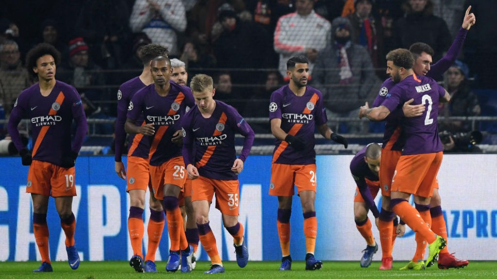SQUAD GOALS: The Blues celebrate after Aymeric Laoprte's vital leveller