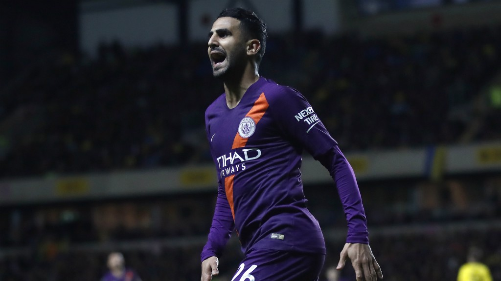 PURPLE PATCH: Mahrez celebrates his third goal in two games