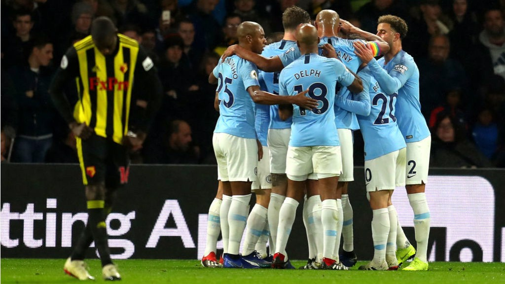CELEBRATION TIME: The City players celebrate Leroy Sane's goal