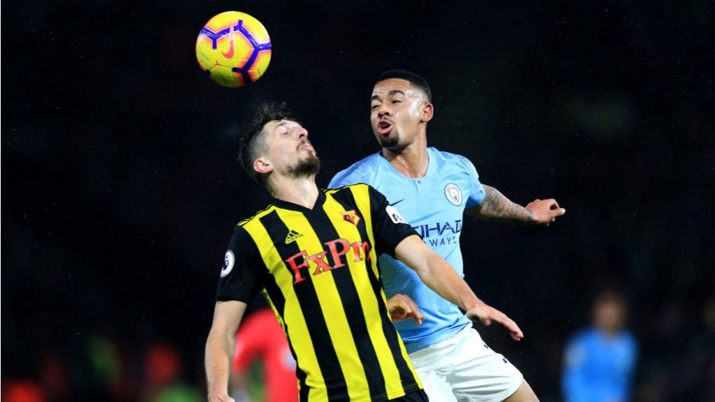 HEAD BOY: Gabriel Jesus wins this aerial challenge