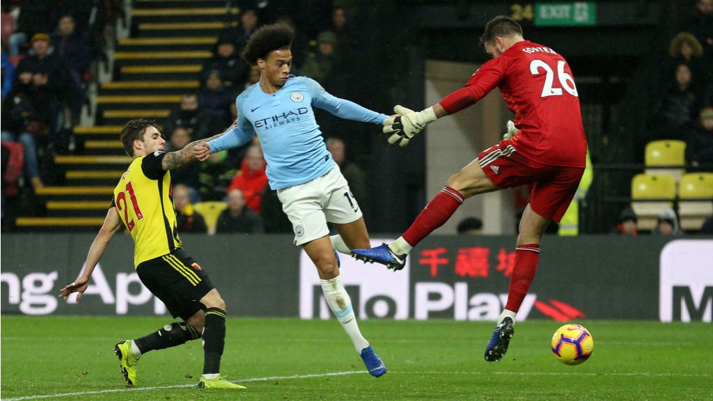 STRIKE ONE: Leroy Sane beats Ben Foster for our opener