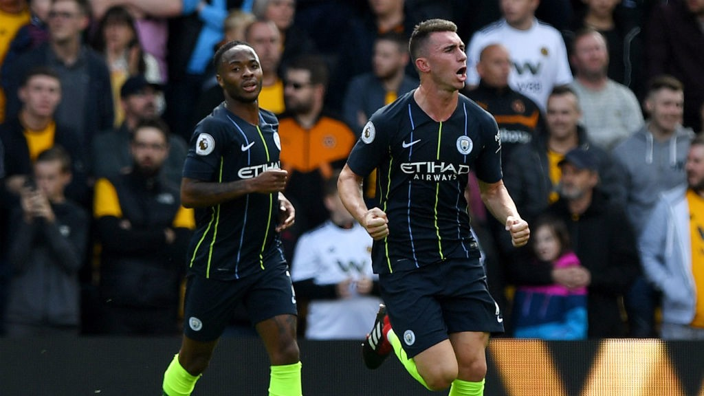LEVELLER: Aymeric Laporte celebrates his goal with Raheem Sterling