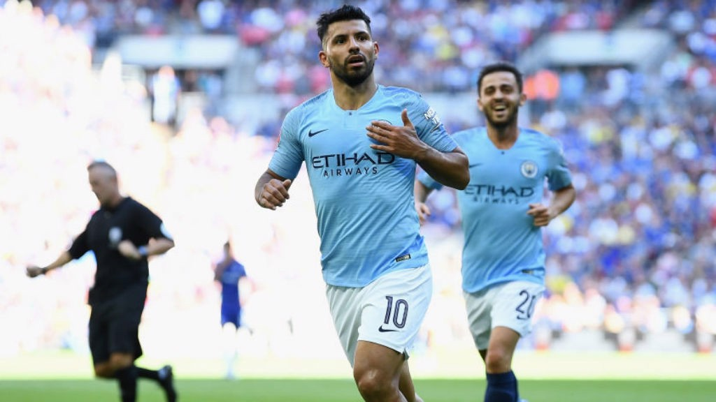 TWO GOOD: Sergio Aguero celebrates after doubling his personal tally and City's lead