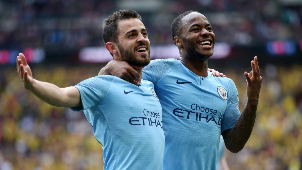 HAT-TRICK HERO: Sterling's hat-trick is the first in an FA Cup final since Stanley Matthews' in 1953