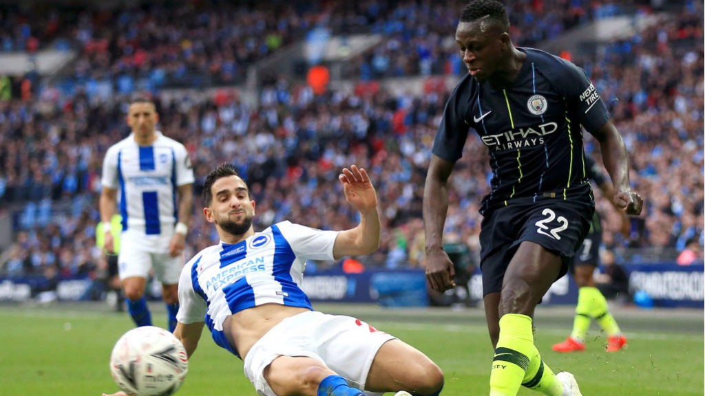 BACK IN BUSINESS: Benjamin Mendy made a return to action for City at left-back
