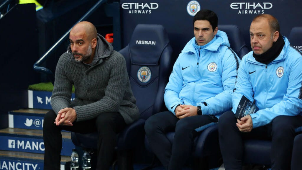 WATCFUL EYES: Pep, Mikel and Rodolfo look on