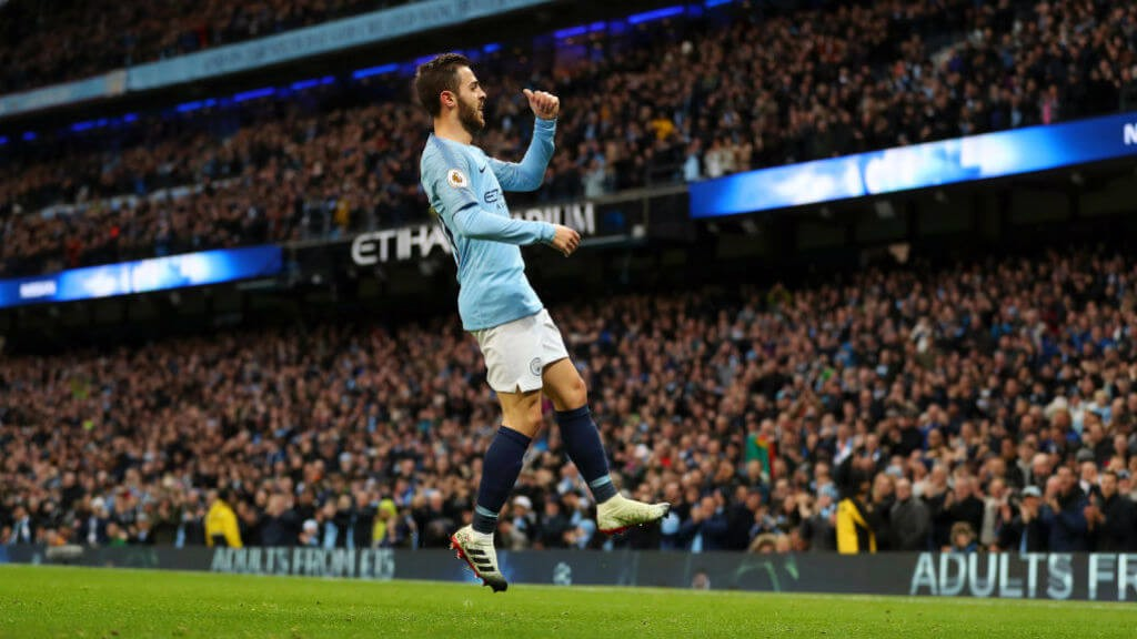 SILVA SHINES: Bernardo celebrates putting City 1-0 with a close-range strike