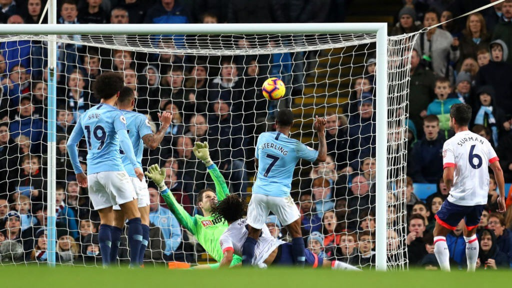 SUPER COOL: Raheem with an emphatic finish to put City 2-1 up!