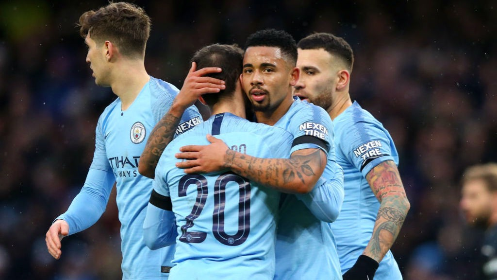 DUO: Bernardo and Gabriel Jesus celebrate out first half goal.