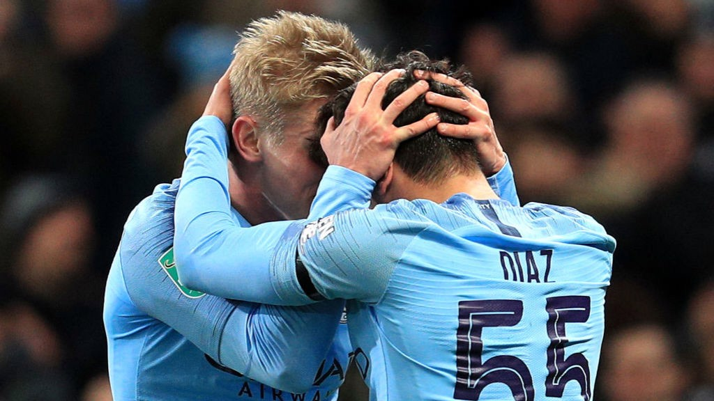 SQUAD:  Zinchenko and Diaz share their delight after City's opening goal.