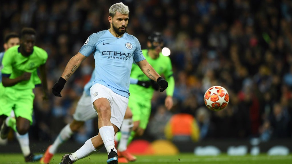 COOL AS YOU LIKE: Sergio Aguero opens the scoring with a gorgeous Panenka penalty!
