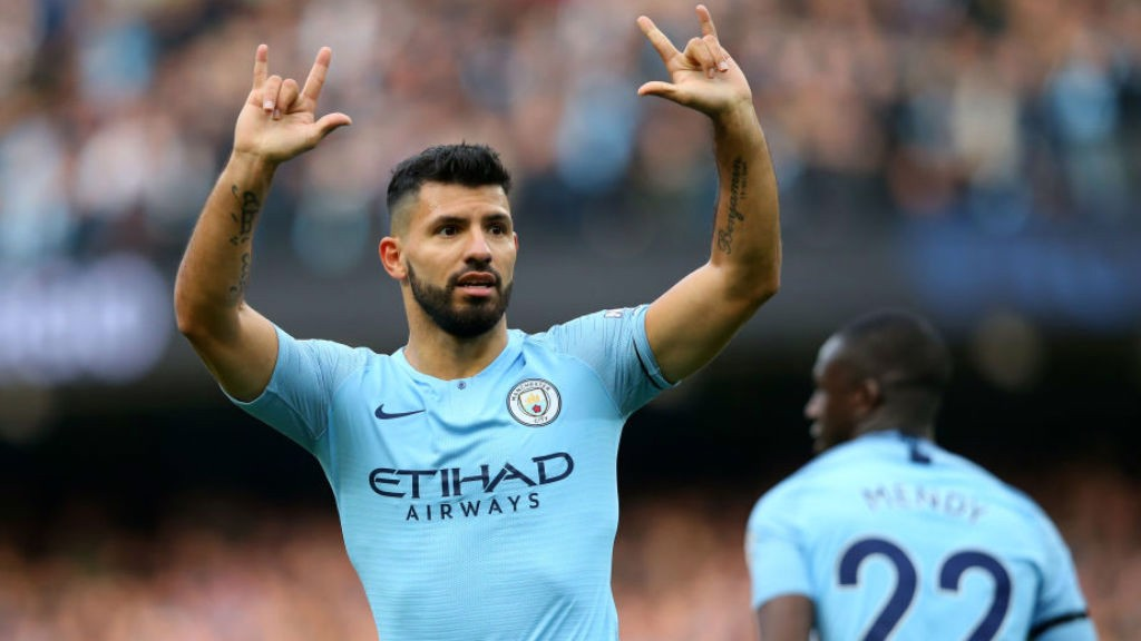 LANDMARK: Sergio Aguero celebrates after netting his  150th Premier League goal for the Blues