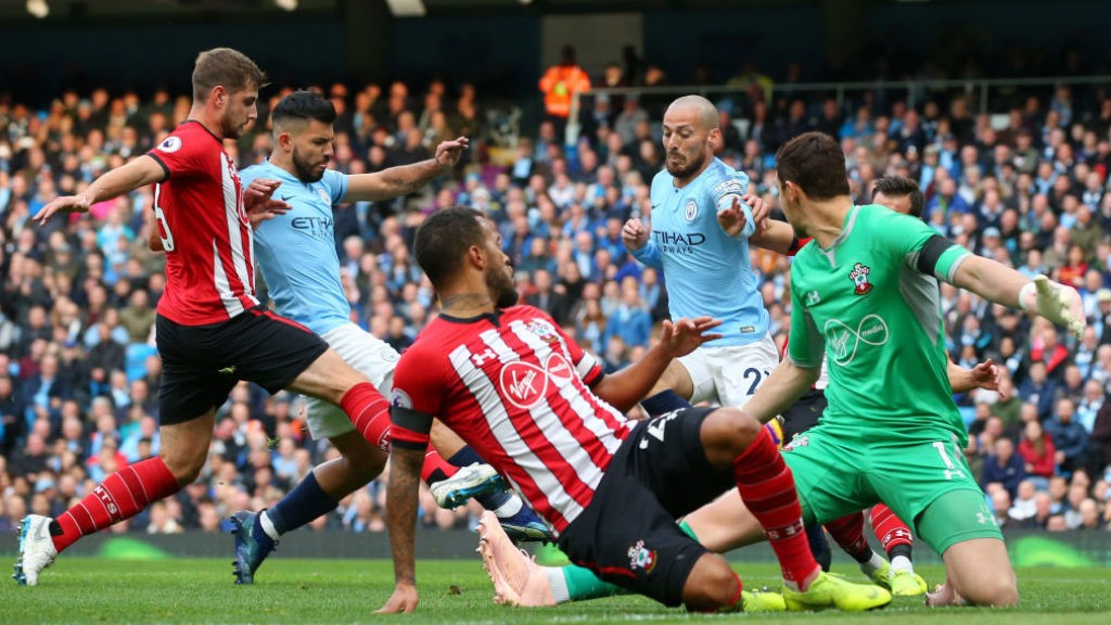 LETHAL WEAPON: Sergio Aguero is on hand to net City's second goal