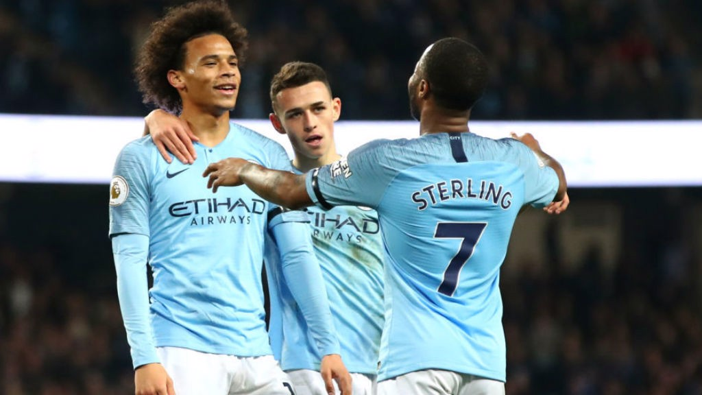 SIX OF THE BEST: Leroy Sane celebrates with Raheem Sterling after rounding off City's rout of Southampton