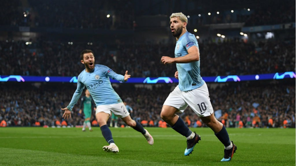MASTER BLASTER: Sergio Aguero wheels away in triumph after his wonderful strike