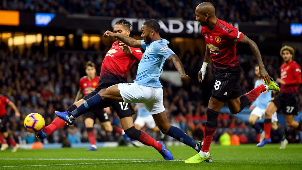 RAZZLE DAZZLE: Raheem Sterling causes panic in the United back-line