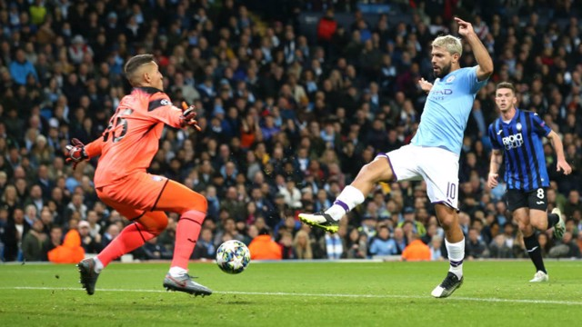 INSTINCTIVE: But City were level when Aguero pounced inside the area to finish from close range