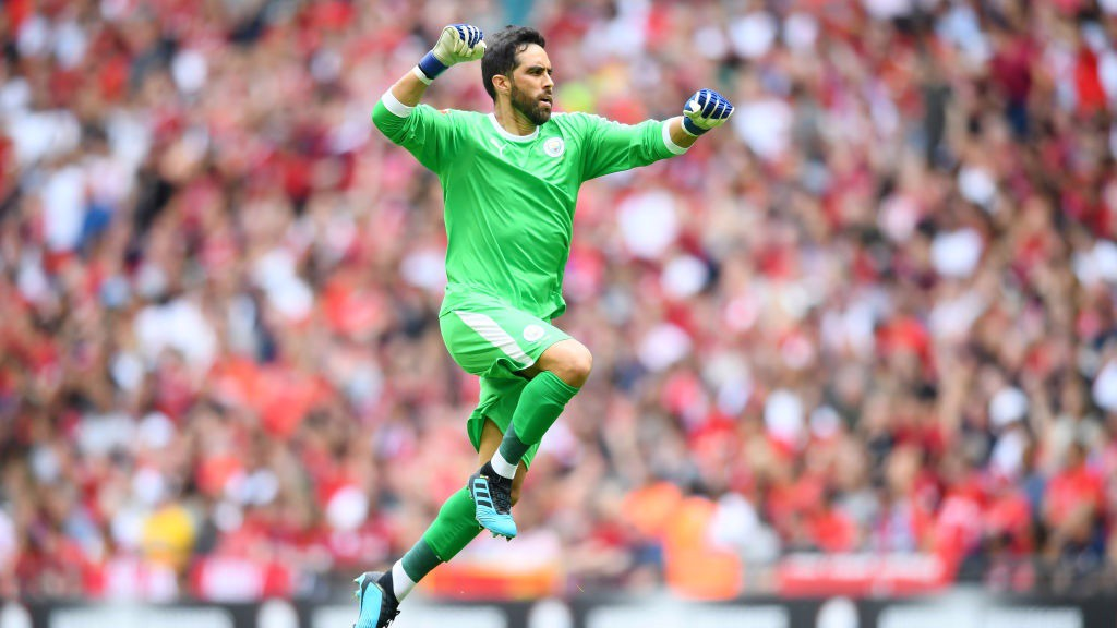 BACK IN THE GAME: Claudio Bravo made his first competitive appearance for City since last season's Community Shield victory against Chelsea.
