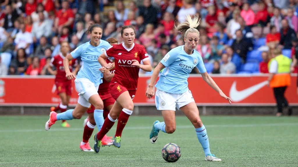 DRIVE: Toni Duggan bears down on goal