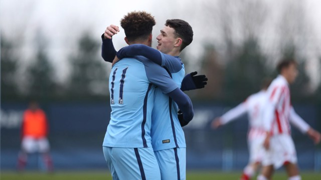 DANGEROUS PAIR: Sancho and Foden were thorns in Stoke's side all match