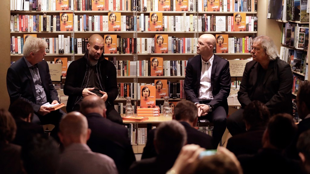 GUARDIOLA AND JORDI: Pep Guardiola attends a book signing event in London with Johan Cryuff's son, Jordi
