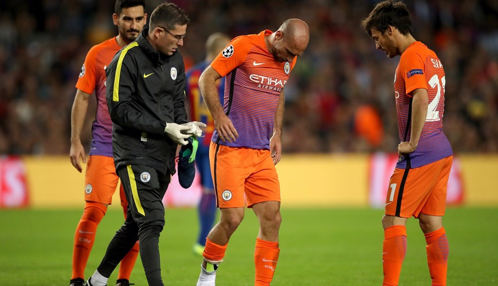 WARRIOR: Zaba walks off in agony