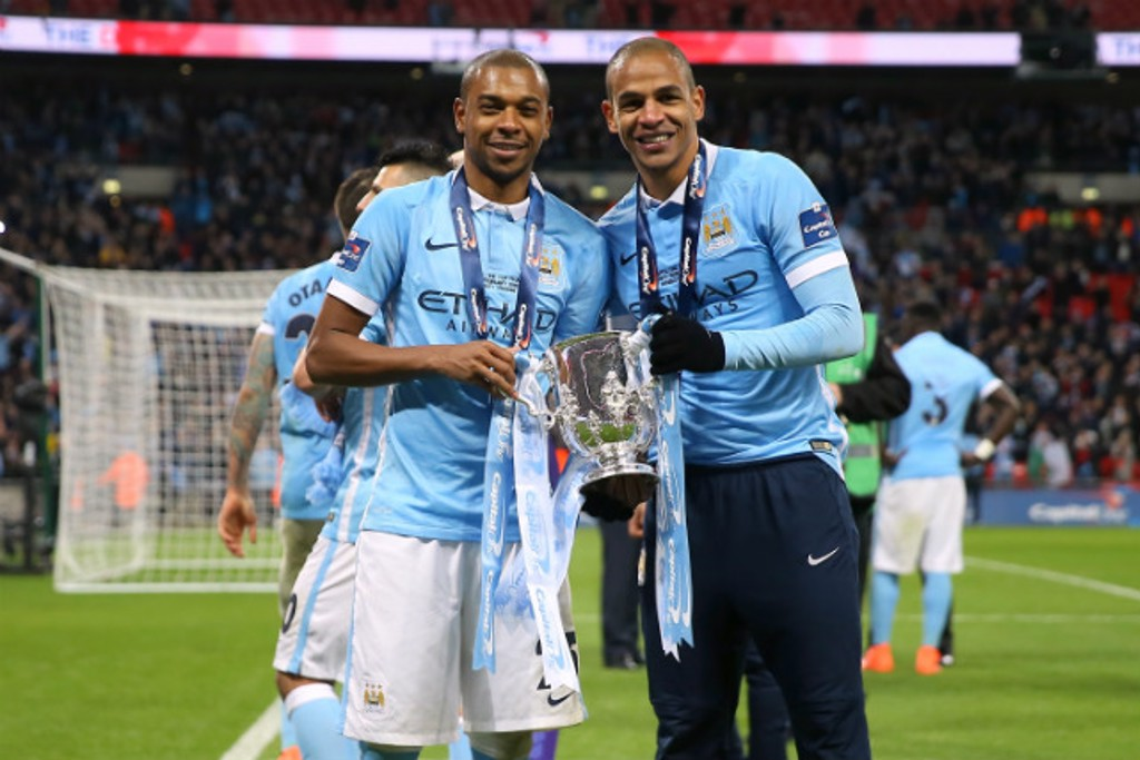 SAMBA: Celebrating the 2016 Capital One Cup with Fernandinho.
