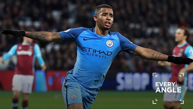 OFF AND RUNNING: G Jesus celebrates his first City goal...