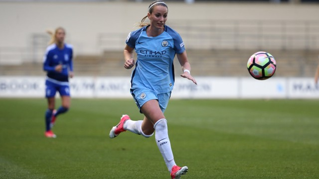 CHASE: Kosovare Asllani in chase of the ball against Birmingham