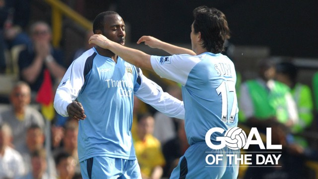 GOAL: Darius Vassell scores against the Hornets