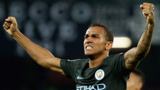 GET IN! Danilo celebrates a fine win in Naples