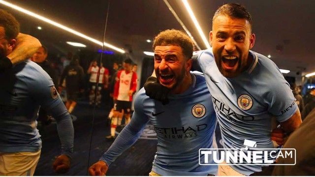 ALL SMILES: The expressions on the faces of Kyle Walker and Nicolas Otamendi say it all after the win over Southampton
