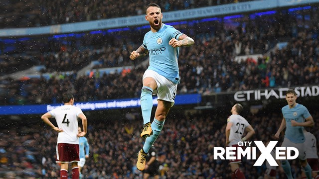 HEAD IN THE GAME: Nicolas Otamendi's bullet header secured City's second goal against Burnley.