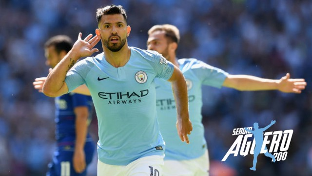 LANDMARK ACHIEVEMENT: Sergio Aguero starts the celebrations after netting his 200th goal for City