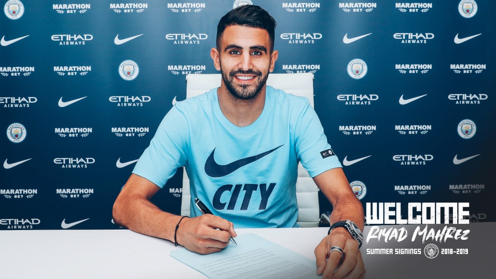 PEN TO PAPER: Riyad Mahrez will wear the number 26 shirt