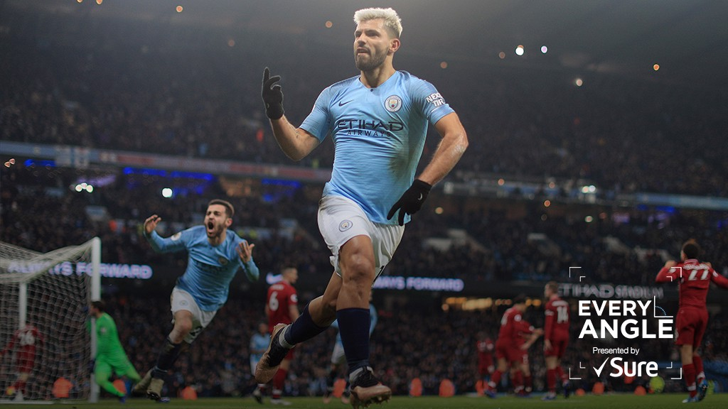 EVERY ANGLE: Relive Sergio Aguero's opener in the win over Liverpool