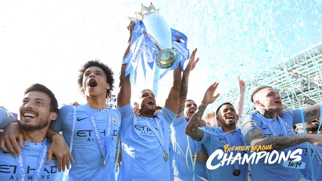 CHAMPIONS: City lift the Premier League trophy